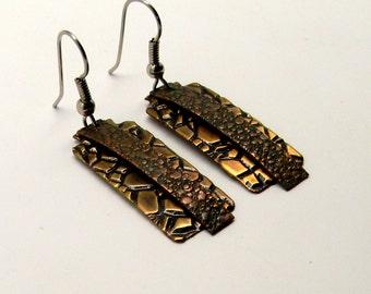 Mix metal jewelry copper brass earrings. Steampunk jewelry earrings.