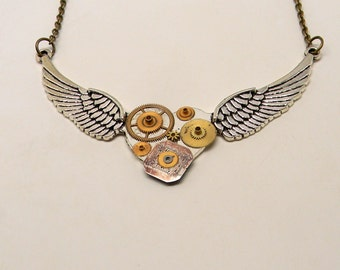 Steampunk necklace. Steampunk angel wings pendant.