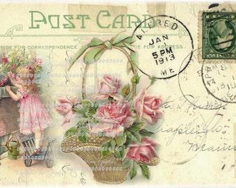 Large digital download 1913 VIntage Postcard collage basket of Pink roses BUY 3 get one FREE single image