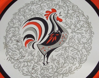 Large Mid Century Rooster Metal Tray
