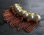 Vintage Filigree Brass Bead Cap Lucite Pearl and Copper Plated Steel Tassel Bead Dangle Pendants-8