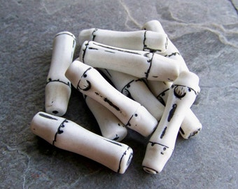 Halloween Beads, Vintage Bead-Vintage West German Halloween Skeleton Bone Bamboo White & Black Lucite Beads-10 Beads