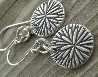 Sterling Silver Chrysanthemum Coin Earrings PMC