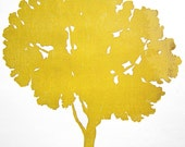 Oak Tree woodcut (yellow)