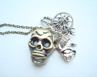 Halloween Skull Witch Pocket Watch Necklace Pirate Costume