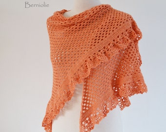Crochet lace shawl, dark peach, M123