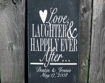 Personalized Wedding Date Sign Love Laughter and Happily Ever After