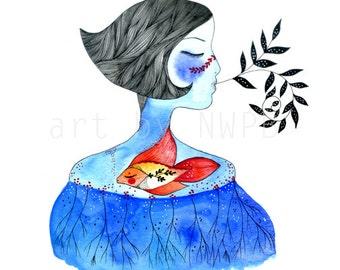 My heart is a fish. Art print. Illustration