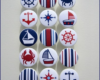 Perfect Nautical Drawer Knobs U2022 Anchor Knobs U2022 Red U2022 Navy U2022 Sailboat U2022 Helm U2022  Stripes