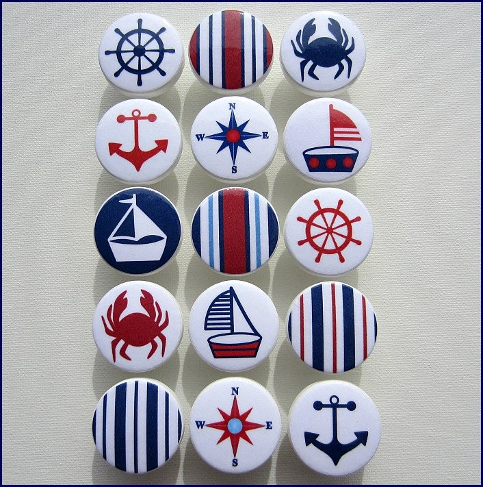Nautical Drawer Knobs - Anchor Knobs - Red - Navy - Sailboat - Helm -  Stripes - Sailboat Knobs