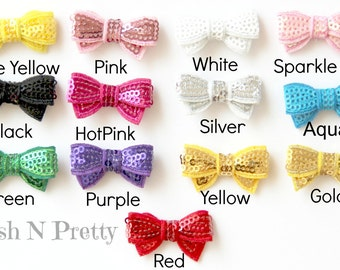 10 PCS of 1.25 inches Itty bitty SEQUIN Bling Bows Applique- pick COLORS