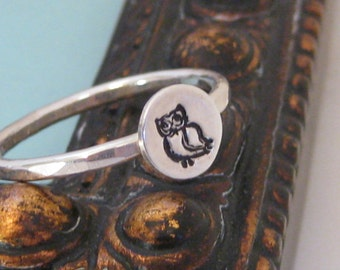 Little Owl Sterling Silver Stacking Ring- initial or other design stamps also available