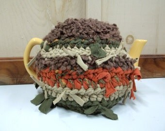 Teapot Cozy Cosy Recycled Brown Green Orange