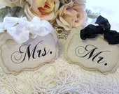 Mr. & Mrs. Bride and Groom Parchment or White Linen Table Tent Sign - Set of 2 - 1 Pair - Large or Small - Vintage Rustic Shabby Style
