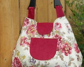 Rosy Garden Party Coquette Retro Style Handbag with Wooden Handle and Snap Closure