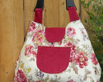 Rosy Garden Party Coquette Dressed Up Handbag with Wooden Handle and Snap Closure