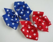 4th Of July Independence Stars and Stripes Pinwheel Bow - No Slip Velvet Grip Clippie