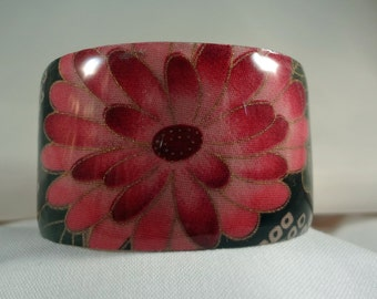 Pink Flower Wide Cuff Bracelet, Resin, Fabric, Metal, Jewelry, Accessories (CCB173)