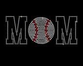 Baseball Mom Iron-On Spangle Bling Hotfix Transfer