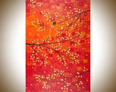 """birds art acrylic painting wall art Wall hangings wall decor Palette Knife home office Wall art """"Sunset Love"""" by qiqigallery"""