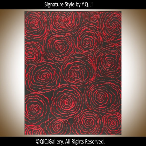 """Red black painting abstract art modern abstract wall art Acrylic Painting wall decor gift for her canvas art """"Red Passion"""" By qiqigallery"""