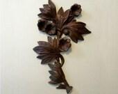 Walnut Victorian Spray of Flowers Architectural Element