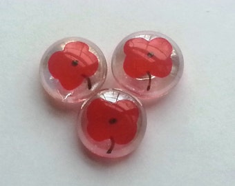 Hand painted glass gem magnets party favors poppy poppies flowers flower