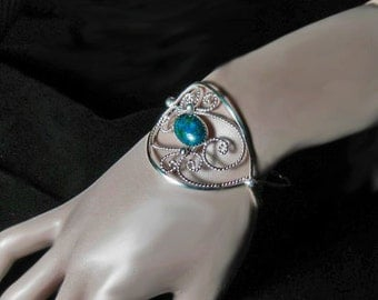 Handmade sterling silver filigree cuff bracelet with azurite stone ,statement, gift