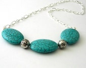 Turquoise Oval Chain Necklace with Lobster Clasp 18.5 Inch
