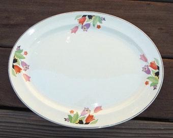 """Vintage Deco Hall Superior CROCUS 14"""" Oval Serving Platter"""
