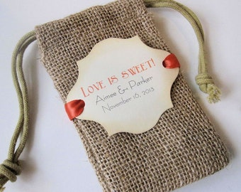 Burlap wedding favor bags - Personalized - Love is sweet