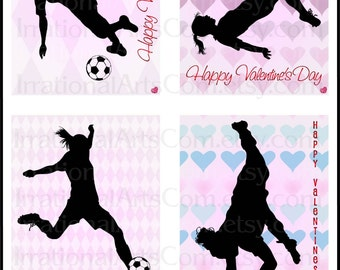 Valentines Day Cards Soccer set 1 GIRLS - for kids class exchange DIY Printing Valentine silhouettes JPG & Pdf {Instant Download}