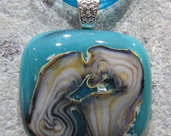 Fused Glass Pendant with ribbon necklace: Snuffleupagus Island Reaction