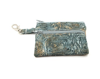 Small Zippered Wallet Change Purse Gadget Case  Gray Tree Circles Batik