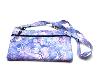 IPad  Mini Case, Kindle Case, Cross Body Bag, Adjustable Strap, Fits eReaders, Light Purple Floral Batik
