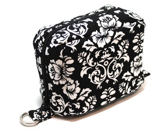 Essential Oil Case Holds 6 Bottles Essential Oil Bag Black and White Damask