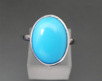 AAAA 12x10mm Sleeping Beauty Turquoise in 14K White Gold Ring m
