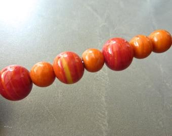 Vintage Handmade Bright Orange with swirls Round Glass Beads 13mm & 10mm (7)