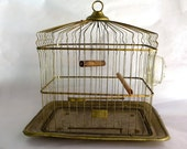 Vintage Antique Birdcage Brass Hendryx Turn of the Century Bird House Cage Victorian 1880s