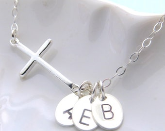 Gift For Mom • Side Cross Necklace with Initials • Personalized Gift For Her • Initial Necklace • Custom Jewelry • Mother's Day Gift