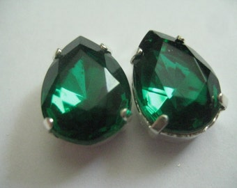 Lot of  2 18x13mm Emerald  Pear Shaped West German Rhinestones in Silver Plated Brass Sew On settings