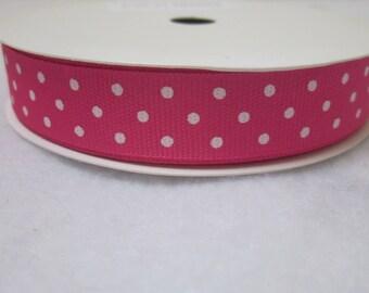 3 Metre Spool Bright Pink Polkadot Ribbon