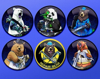 "Star Citizen Parody - Repair Bear - 1.75"" Pin-Backed Buttons - Set of 6"