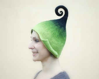 Felted gnome elf fairy hat green and black  or any other color with curly-Q tip, MADE TO ORDER, custom colors, any sizes
