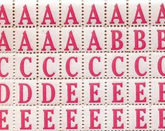 320 Pink Alphabet Letter Labels - Vintage Style Labels - Alphabet Letter Stickers Vintage Style - Letter Labels - DIY Packaging