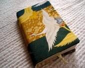 Golden Japanese Cranes Fabric Book Cover - Mass Market Paperback Size
