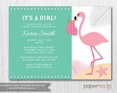 COLOR OPTIONS Flamingo Baby Shower Invitation - Boy or Girl - Customizable Colors & Information- Digital File -  Item 150