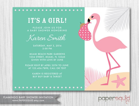 color options flamingo baby shower invitation boy or girl
