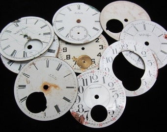 Distressed Shabby Chic  Watch Dials Steampunk Faces Enamel Porcelain GB 1