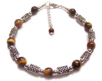 Tigers eye and Celtic knotwork Sterling silver bracelet - beautiful brown marbled gemstone